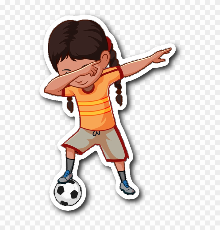 Soccer dabbing girl sticker for car bumper soccer clipart