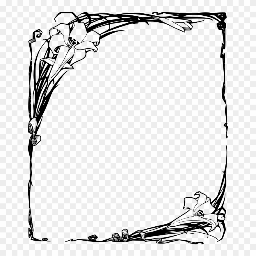 Easter Lilies Frame Funeral Borders Design Png Clipart