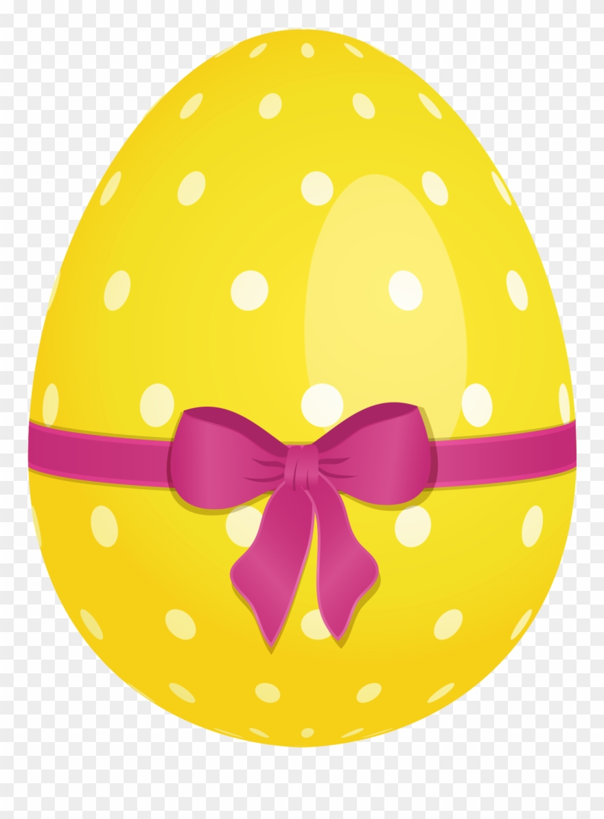Yellow Dotted Easter Egg With Pink Bow Png Clipartu200b - Easter Egg Transparent Background