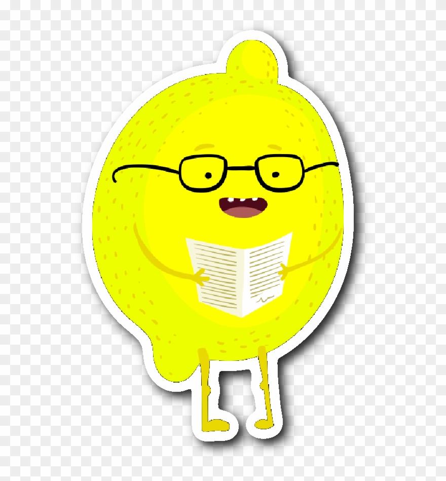 Lemon Reading A Book Sticker Clipart (#3067879) - PinClipart