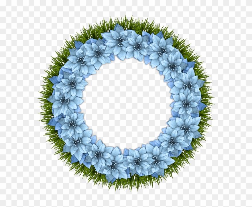Christmas wreath blue. Frames card clipart