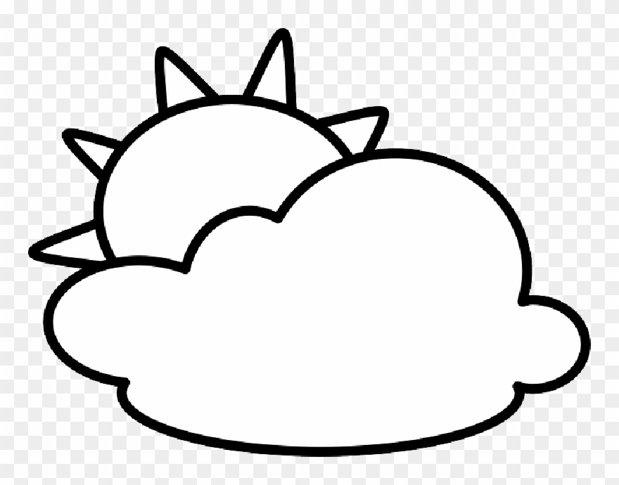 Sun And Clouds Clipart Black And White Png Download 3088969