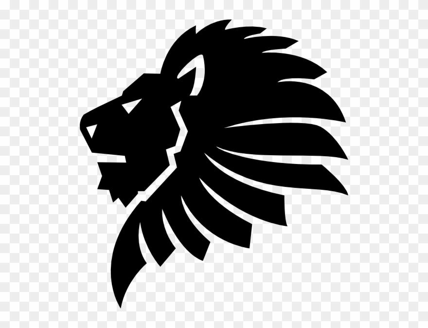 Black Lion Head Clip Art - Lion Head Silhouette Png Transparent Png