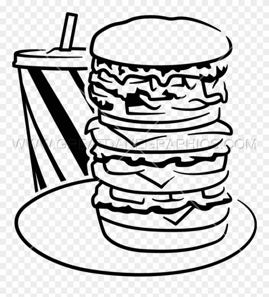 Super Burger Production Ready - Burger In Black And White Png Clipart