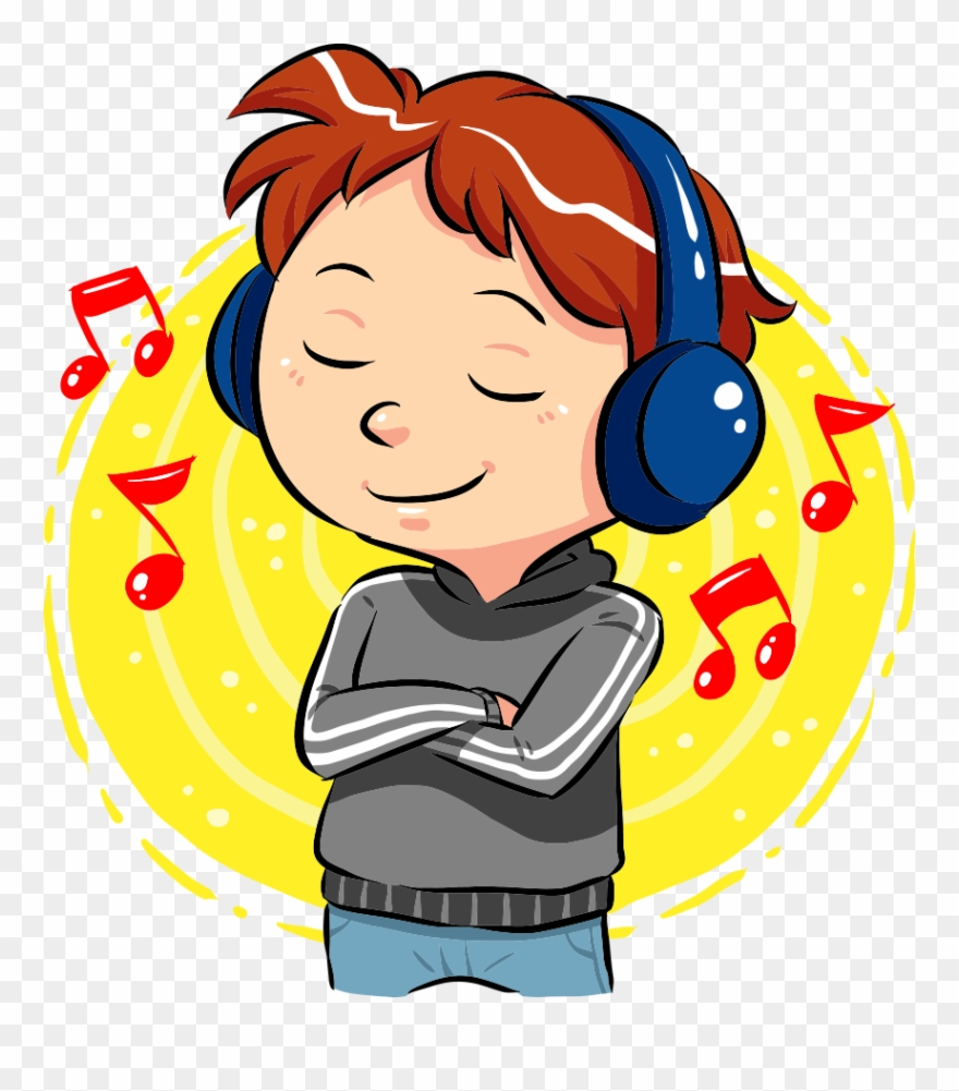 Svg Freeuse Stock Boy Listening To Music Clipart - Boy ...