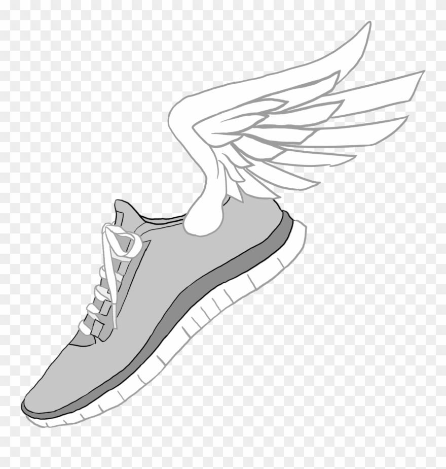 fb85738367035d Nike Clipart Transparent - Shoes With Wings Drawing - Png Download ...