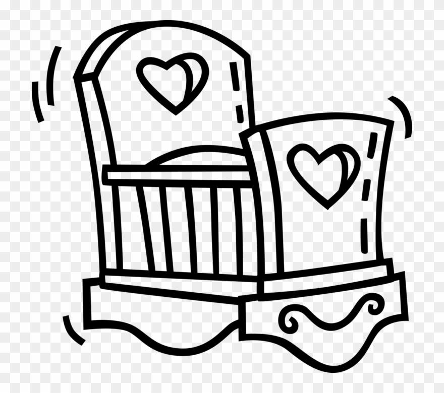 Vector Illustration Of Newborn Babys Crib Small Bed