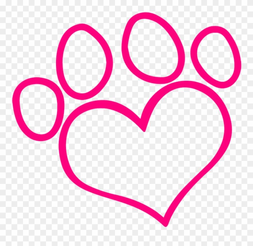 Mq Sticker - Paw Print Heart Outline Clipart (#3246694
