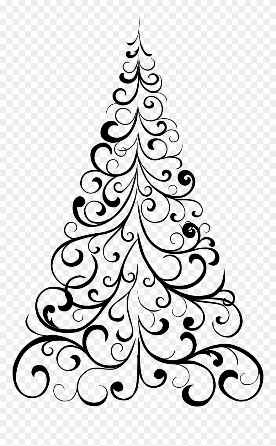 Clipart Ornamental Tree Christmas Tree Design Drawing Png