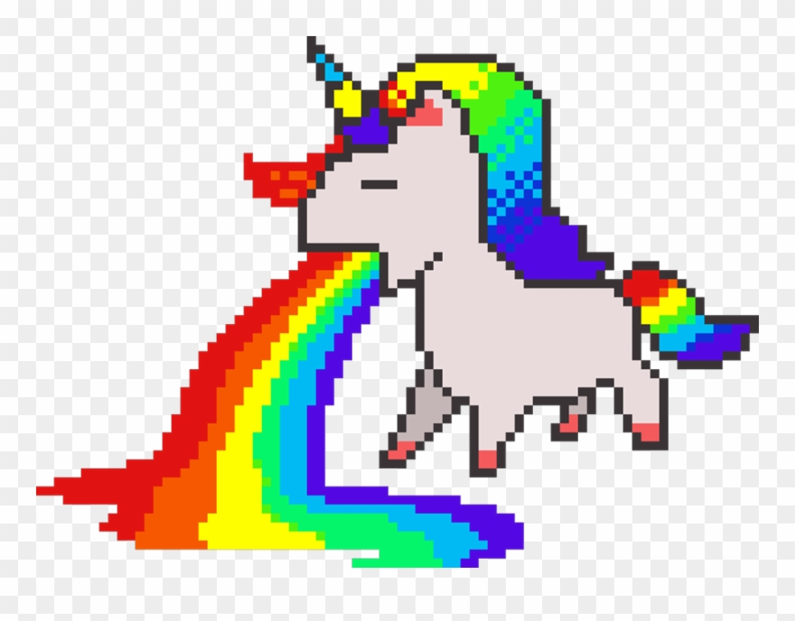 Pixelart Sticker Unicorn Rainbow Pixel Art Clipart