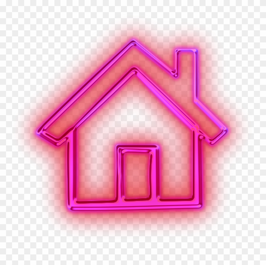 Neon Light Pink House Freetoedit - Pink Home Button Png Clipart