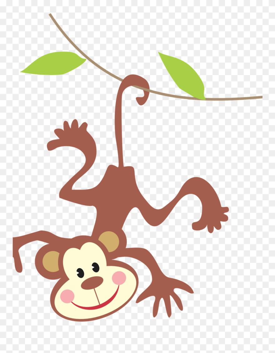 Monkey jungle. Clipart animal in rainforest
