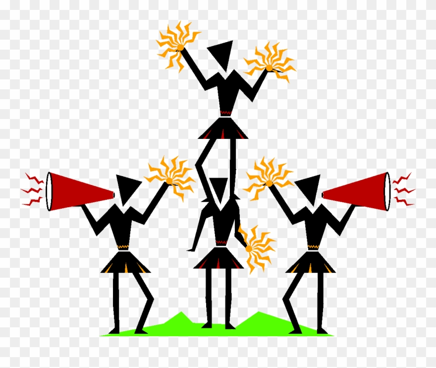 Clip Black And White Stock Cheerleader Cartoon Illustration - Cartoon Cheerleading  Clipart, HD Png Download - kindpng