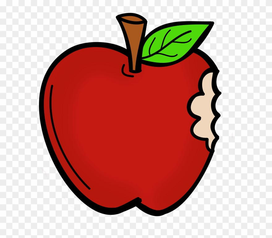 Cartoon Apple With A Bite Clipart