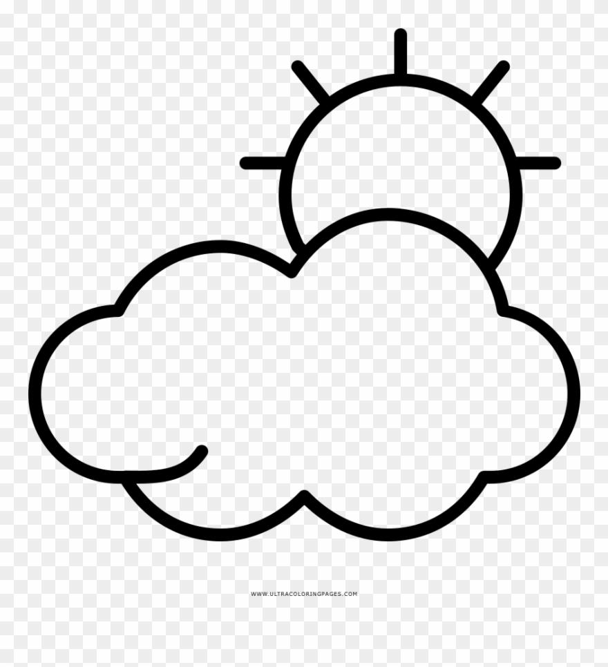 Nublado Página Para Colorear Desenho De Sol Entre Nuvens Para