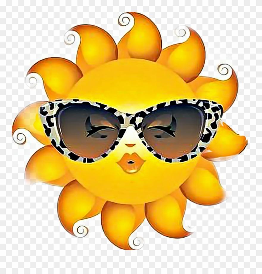 Sunshine sunglasses. Sun sticker emoji with