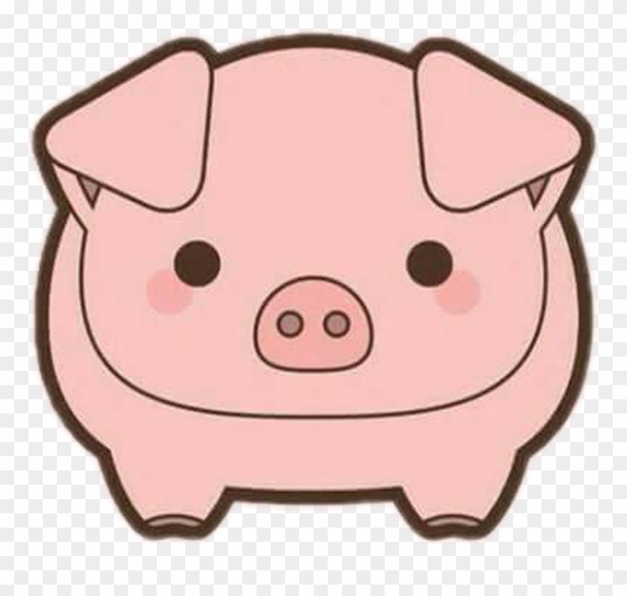Pig kawaii. Cerdito sticker pigs clipart