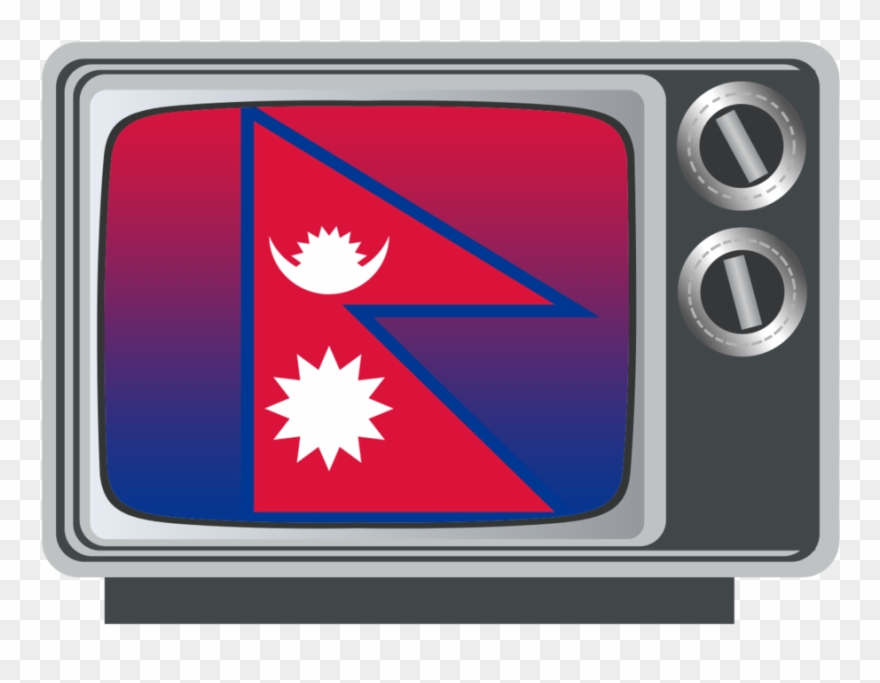 Nepal Flag On Tv - Old Television Black And White Clipart