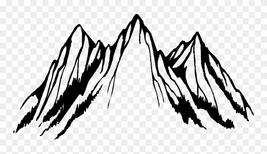 Clip Art Black And White Mountain - Png Download
