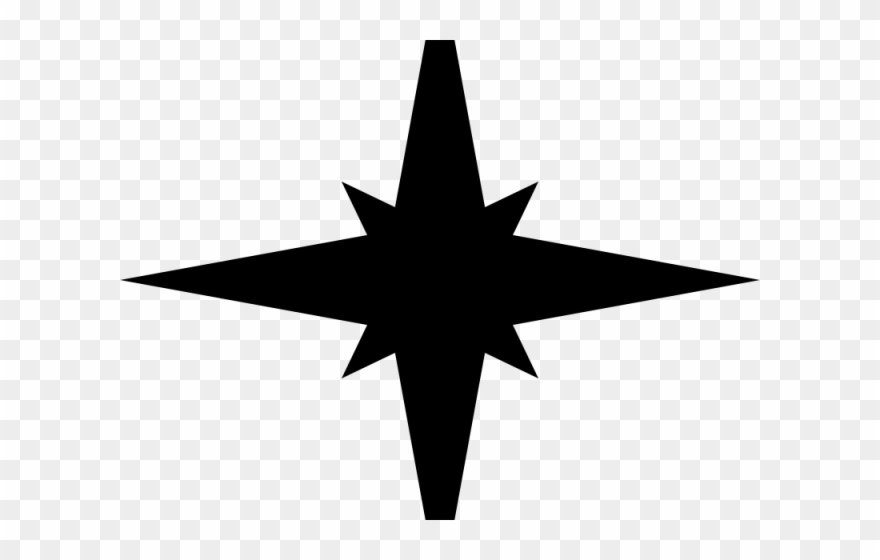 Christmas Star Silhouette.Silhouettes Clipart Christmas Star 4 Point Star Vector