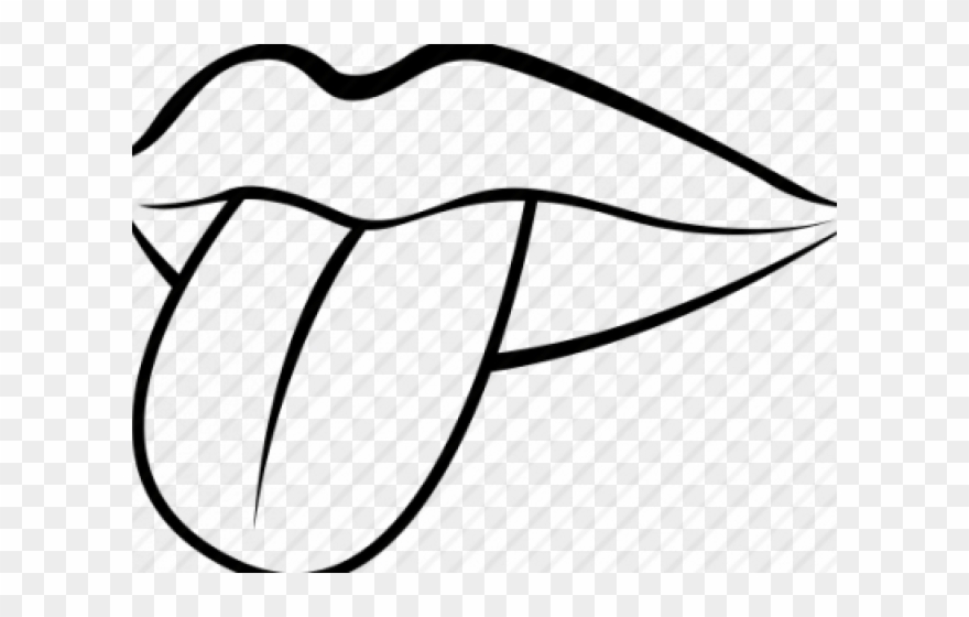 Drawn Tongue Clip Art Lip And Mouth Black And White Clipart Png Download 345844 Pinclipart