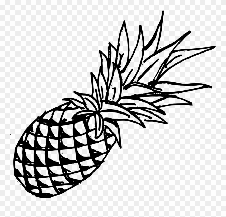 34 347549 drawing pineapple template black pineapple transparent background clipart