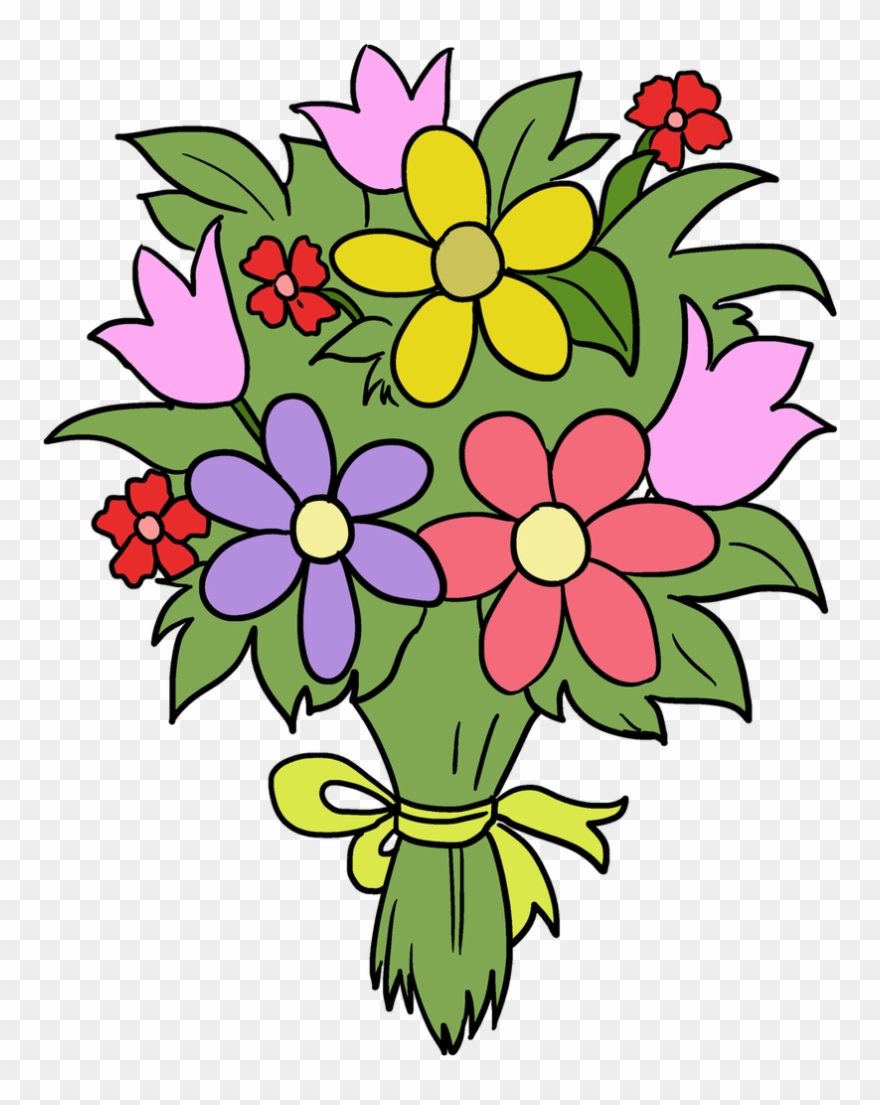 Bouquet clipart fun flower flower bouquet drawing easy png download