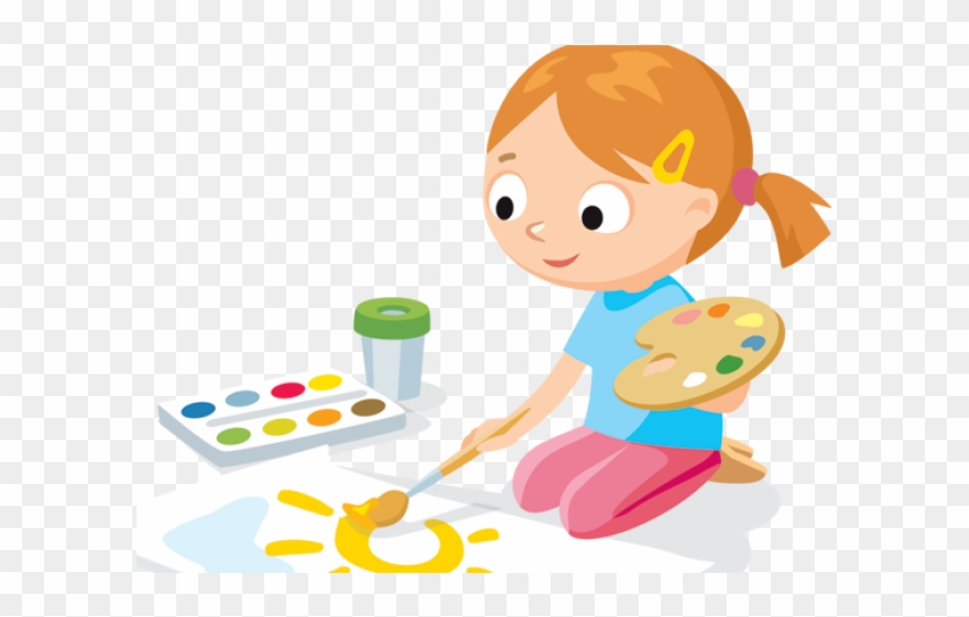 Drawing Clipart Cute Kid Painting - Children Painting Clipart - Png Download