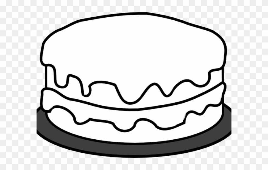 Cake outline. Birthday clipart simple colouring