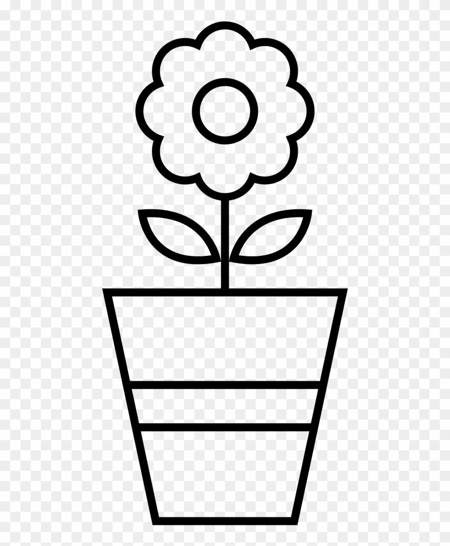 Flower Pot Coloring Page Vaso Com Flor Para Colorir Clipart