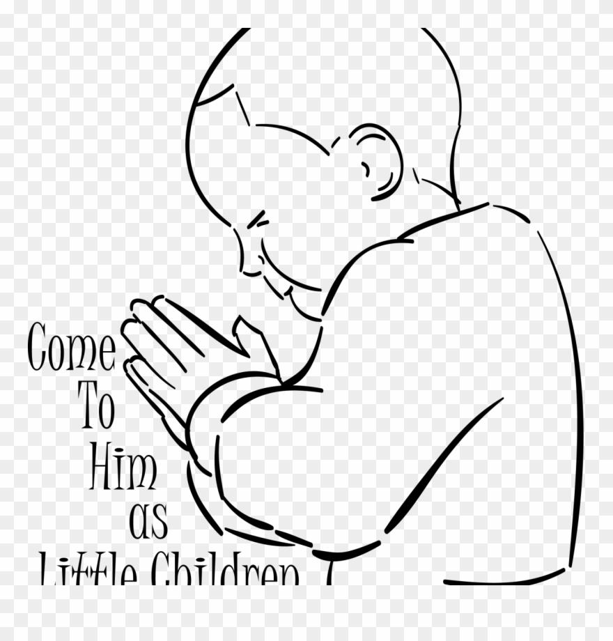 Child Praying To Godawing Line Pencil Art Print Signed Child