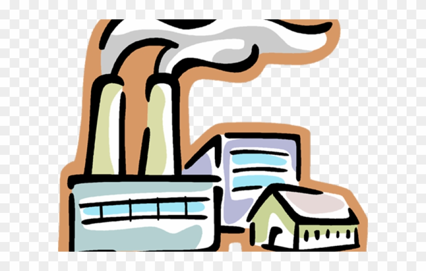 Smoke factory. Clipart transparent background stack
