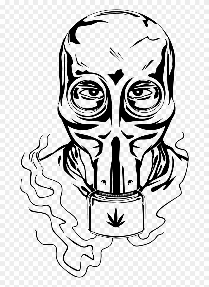 Drawn Gas Mask Design - Gas Mask Bong Drawing Clipart