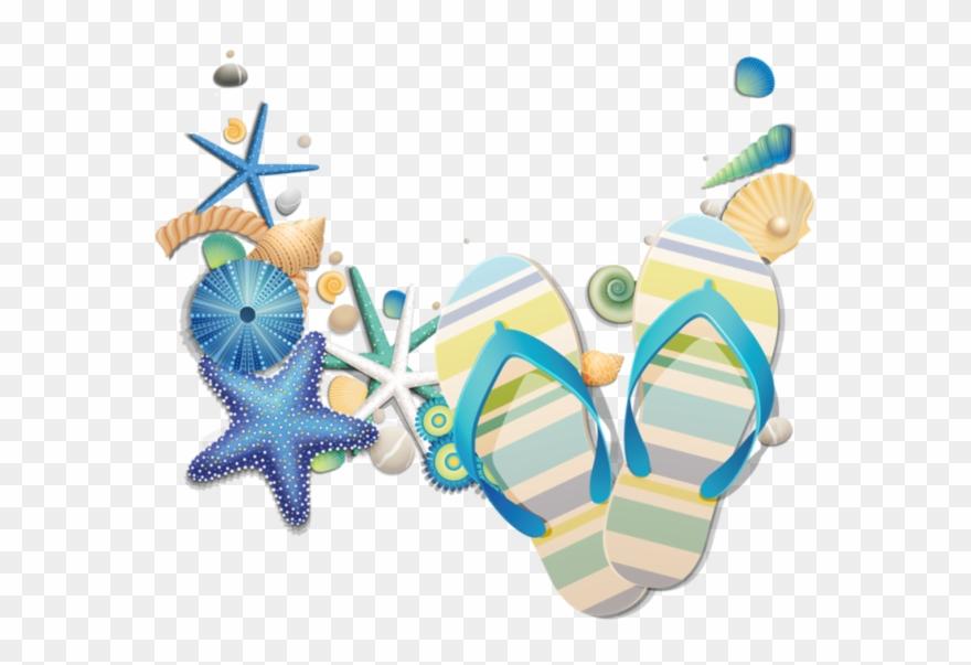 Tongs Underwater Theme Party, Beach Silhouette, Beach - Pretty Flip Flop Beach 1 Pillow Case Clipart