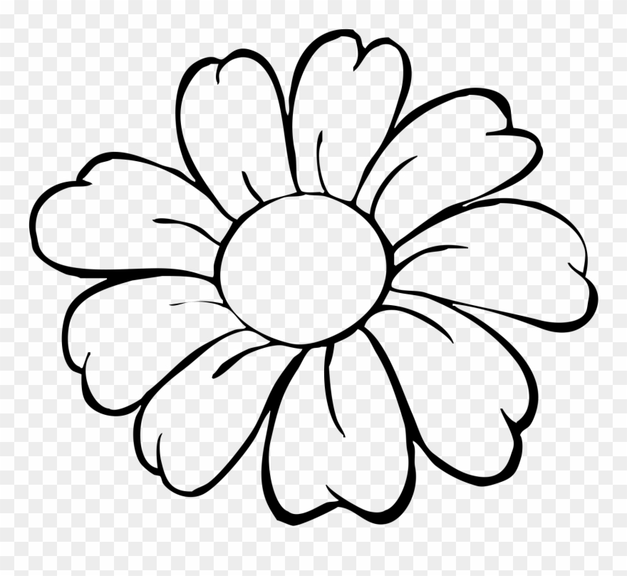 Flower Pot Bw Outline Clip Art Easy Simple Flower Drawing Png Download 3653998 Pinclipart