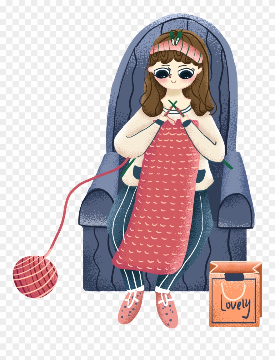 Painted Illustration Sofa Girl Png And Psd Cartoon Clipart