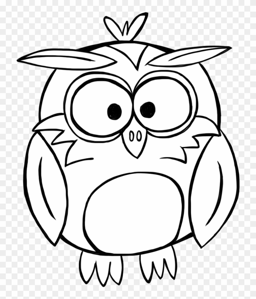 Banner Library Download Black And White Owl Clipart - Black And White Outline Owl - Png Download