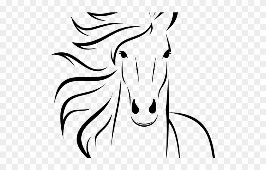 Horse easy. Clipart simple head drawings