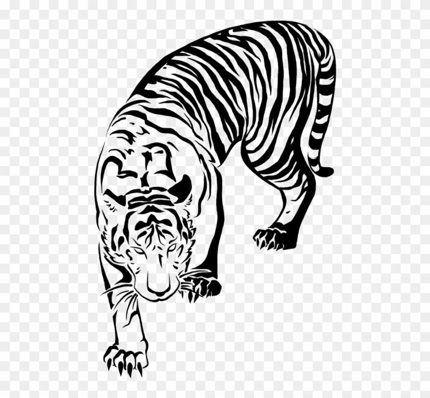 498 X 735 4 - Tattoo Japanese Tiger Drawing Clipart ...