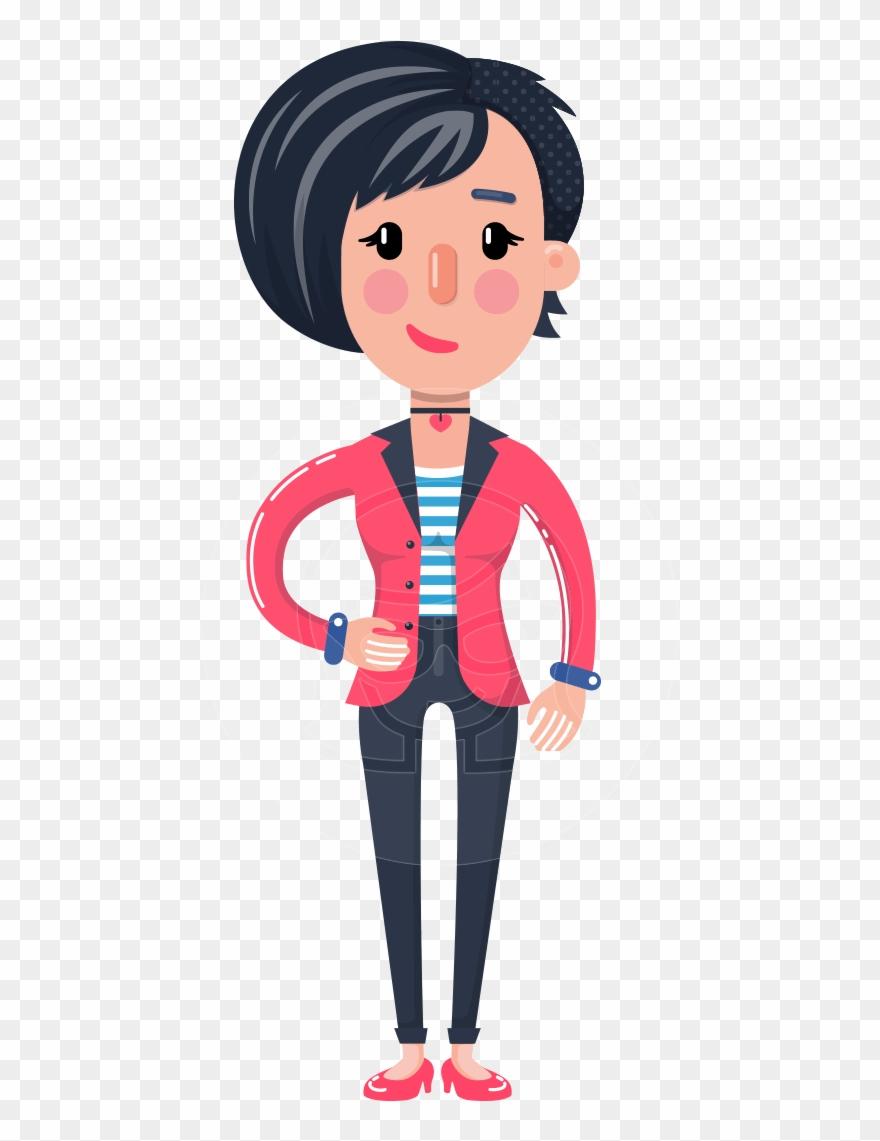 Cartoon Girl With Short Hair Vector Character Cartoon Clipart