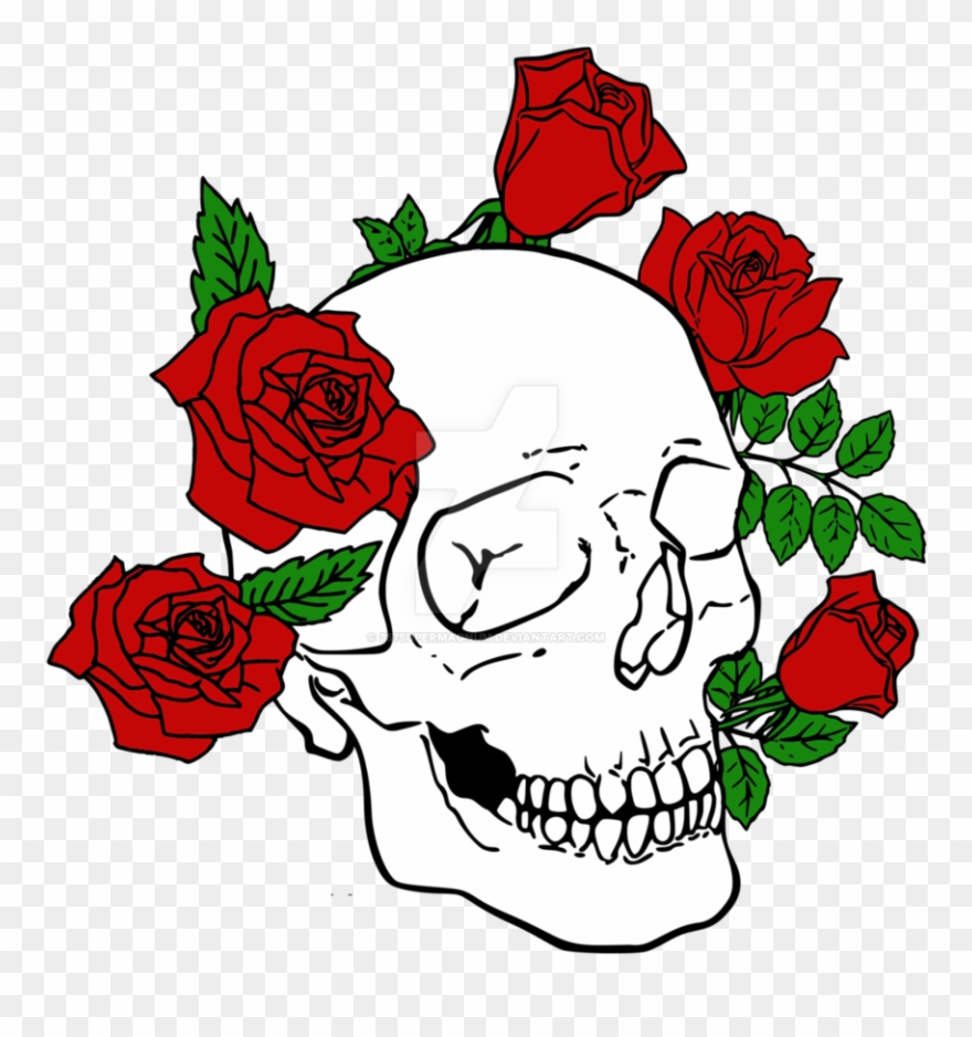 Skull rose. Clipart with roses logo