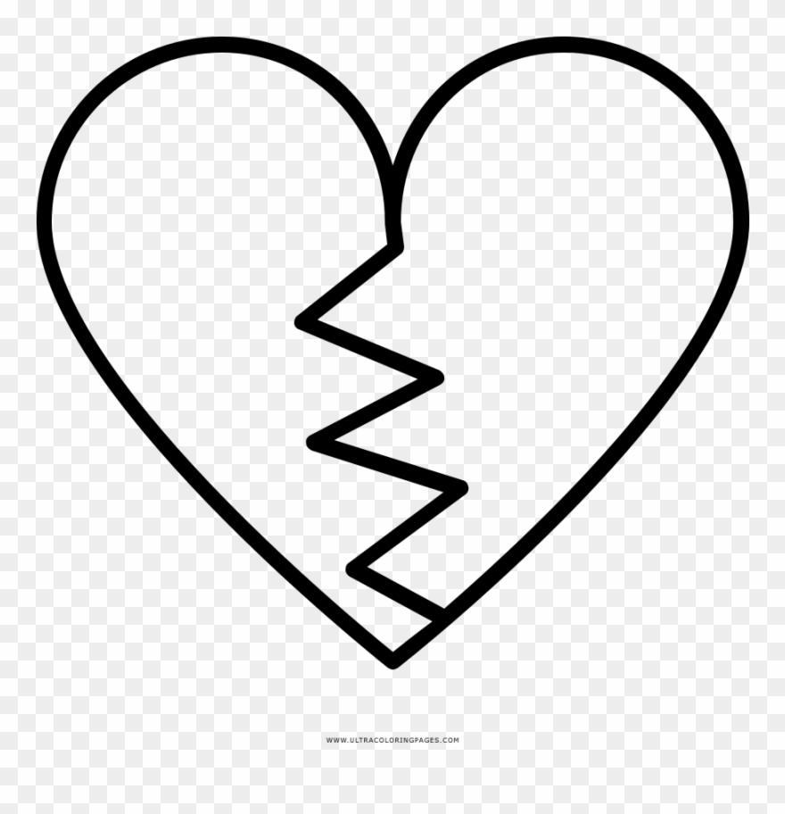 Broken Heart Coloring Page Coracao Partido Para Desenhar Clipart