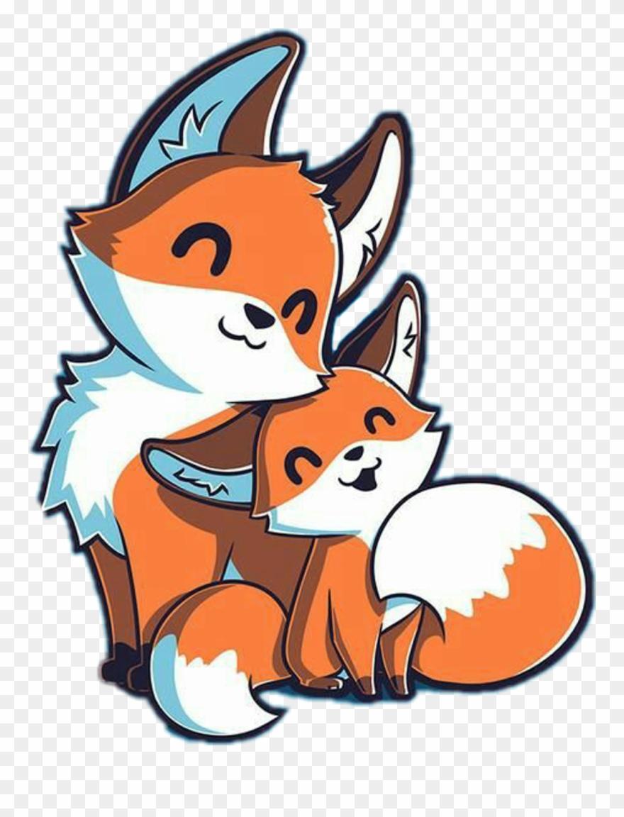 Fox kawaii. Cute sticker drawings clipart