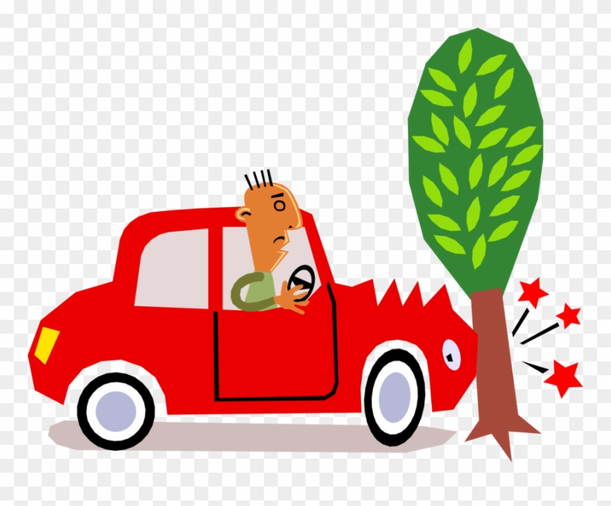 Vector Illustration Of Car Motorist Driver Has Accident Cartoon