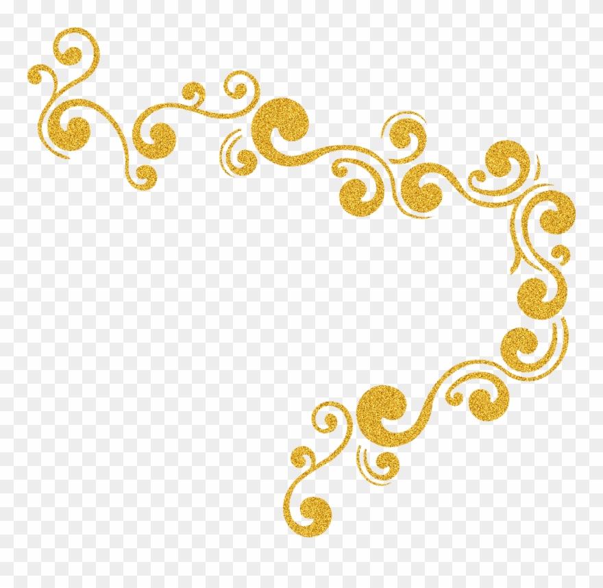 Glitter decorative. Sparkle clipart swirl gold