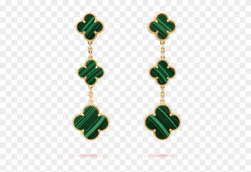 ba3f30c03 Magic Alhambra Earrings, 3 Motifs - Van Cleef And Arpels Earrings Green  Clipart