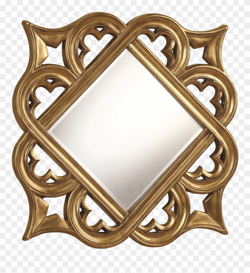 Golden Mirror Frame Free Png Image Diamond Shape Photo Frame Clipart 3889240 Pinclipart