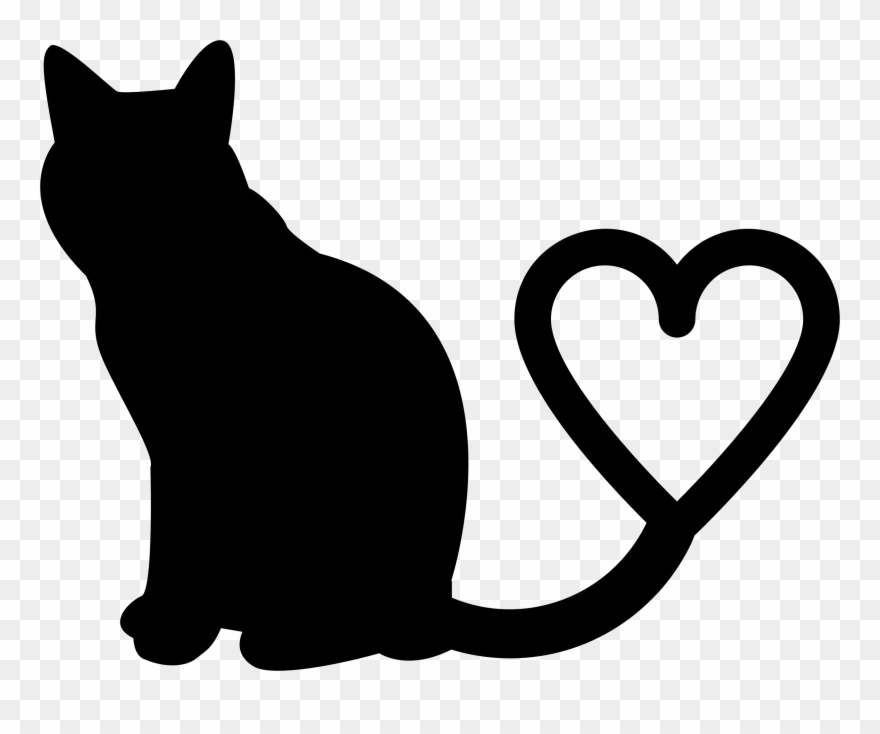 Clipart Two Cats Silhouette Tail Heart Png Download 395239