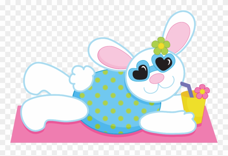 Summer Bunny Sommer Cliparts, Strand Pool, Am Strand, - Clipart Bunny At The Beach - Png Download