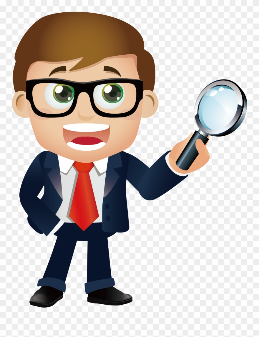 Magnifying glass man. Engineering a holding with